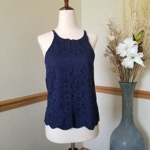 Monteau Navy Sleeveless Lace Top